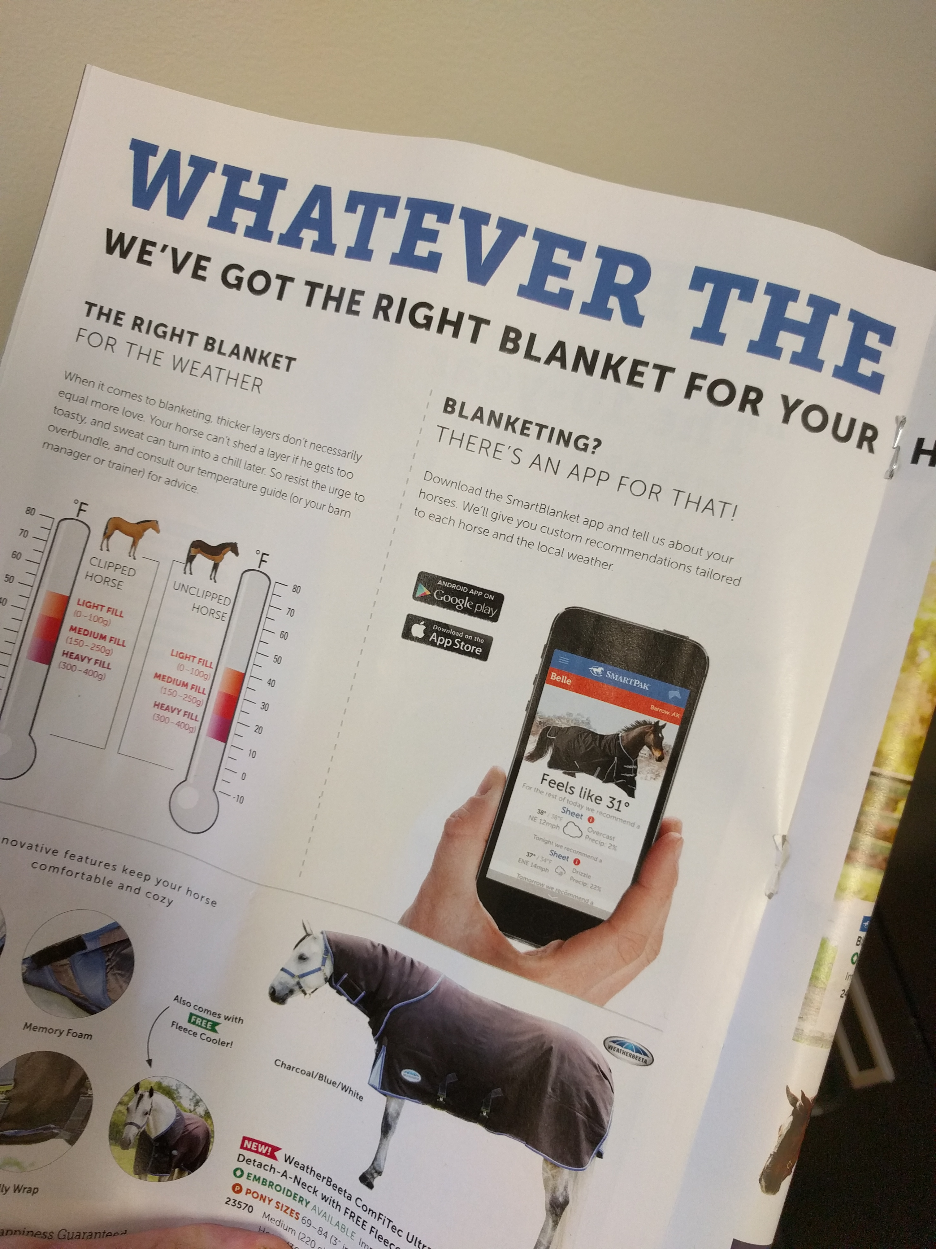 smart blanket - smartpakequine app - catalog image - Poudre